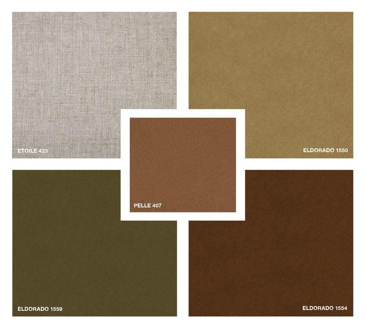 Leather: Pelle 407 Fabrics: Etoile 423 Velvet: Eldorado 1550 - 1559 - 1554