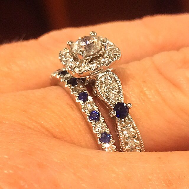 I love EVERYTHING about this Vera Wang vintage style ring! (Found at Zales)   In ancient times, a gift of a sapphire was a pledge of trust and loyalty. It is from this tradition that sapphire has long been a popular choice for engagement rings.