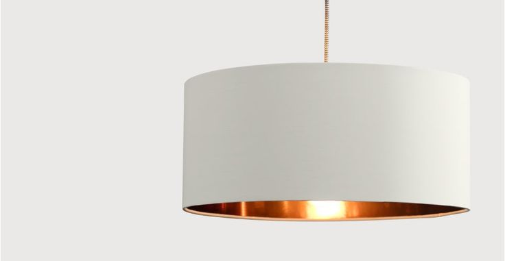 Hue, un abat-jour, argile blanche et cuivre | made.com