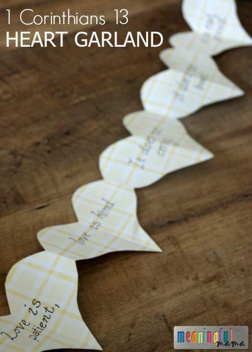 Teaching 1 Corinthians 13 Love Passage to Kids - DIY Heart Garland - Character Development Lessons