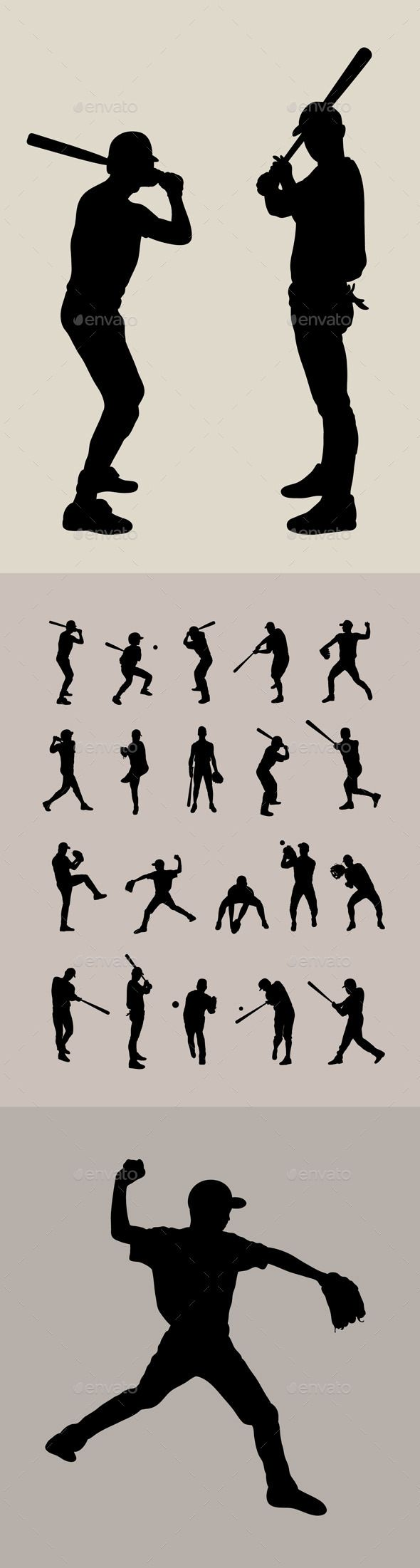 #Baseball Silhouette - #Sports / #Activity #Conceptual #silhouettes #people #characters #isolated #illustration #vector #template