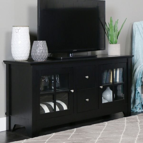 52-inch Black Solid Wood TV Stand Dimensions: 24 inches high x 52 inches wide x 16 inches deep