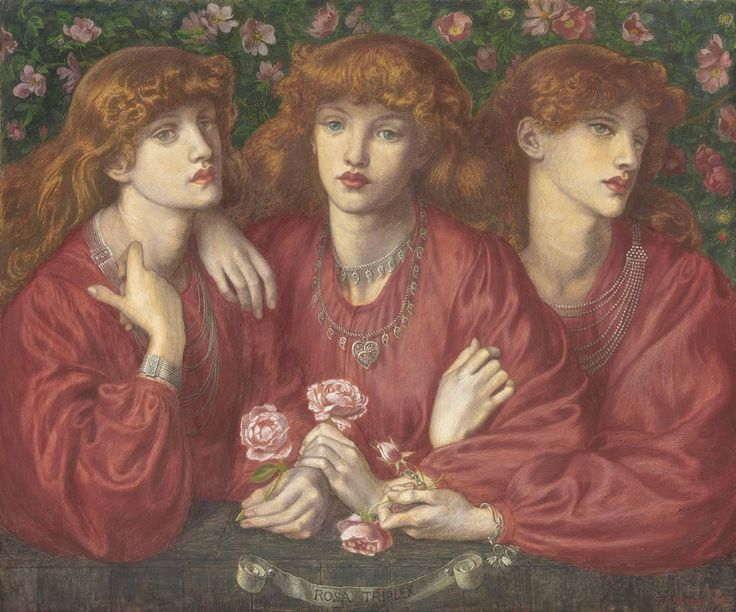 Rosa Triplex: A triple portrait of May Morris ~ Dante Gabriel Rossetti (1828-1882)