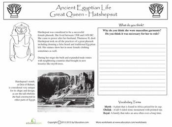 Worksheets: Ancient Egypt: Queen Hatshepsut