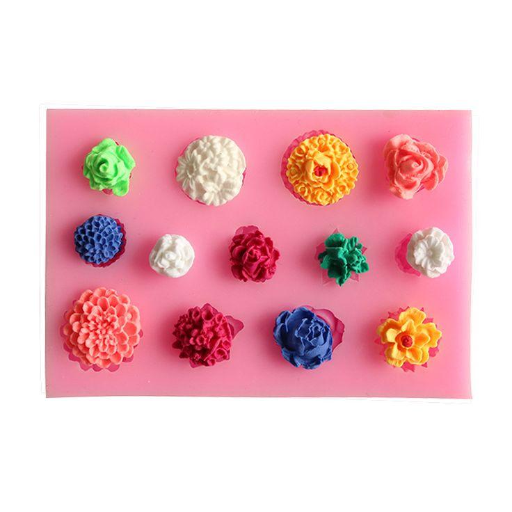 Flores de tecido laço linha molde de Silicone cozimento Silicone molde do bolo ferramentas acessórios de cozinha decoração Fondant DIY alishoppbrasil
