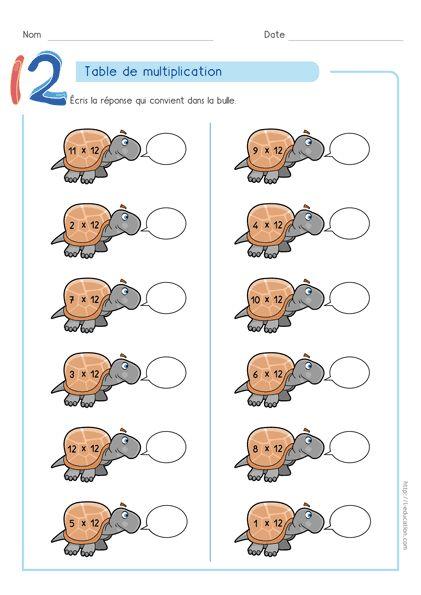 Magnifique contenu sur Table de multiplication de 12 Jeux en ligne & Fiches à imprimer