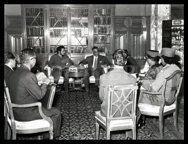 Cuban Revolutionary Ernesto Che Guevarra with Egypt's president Gamal Abdul Nasser in Cairo