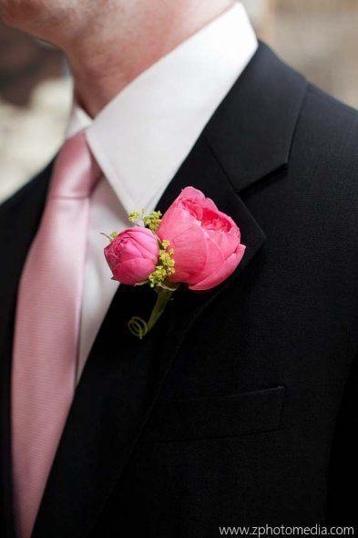 Black wedding suit with pink tie.