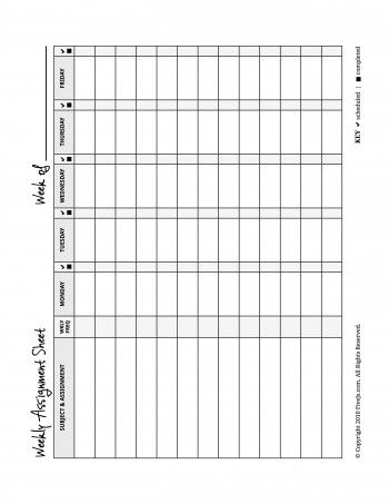 Weekly assignment plannerWeekly Assignment Planner This customizable 1-pg PDF allows parents to write down assignments for the week, but the student can choose which days of the week he actually completes them.