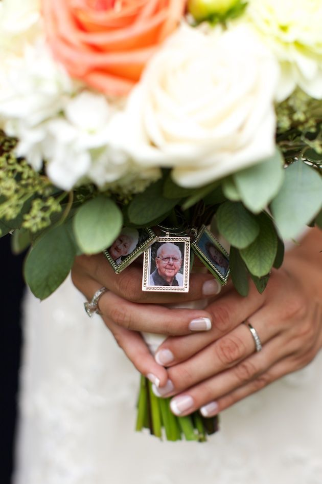 Bouquet photo charms are a lovely way to pay tribute to loved ones who can't be at your wedding