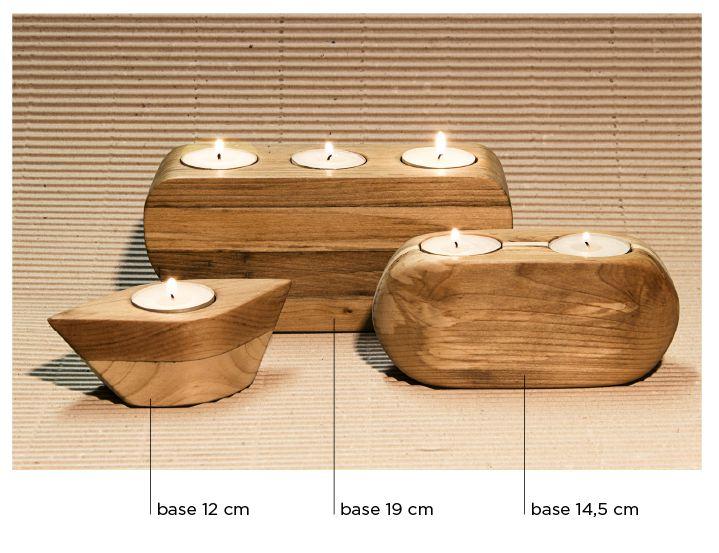 Portacandele in legno • Info: enrico@ynedit.it