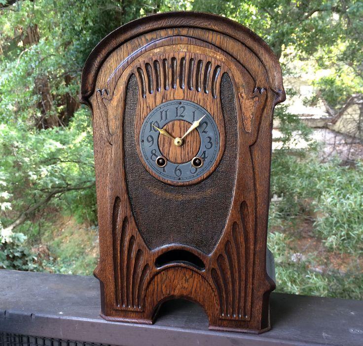 Antique Mantle Clock Art Nouveau Black Forest Lenzkirch Chime 8 Day | eBay a2v