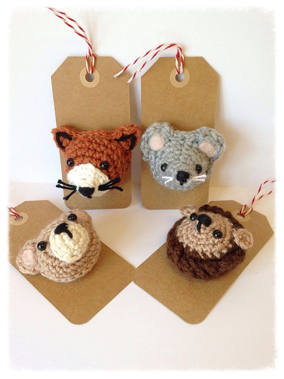 Brooch/Pin Crochet Woodland Creatures, Crochet Brooch/Pin, Crochet Animal, Crochet Hedgehog Fox Bear Mouse on Etsy, $10.00