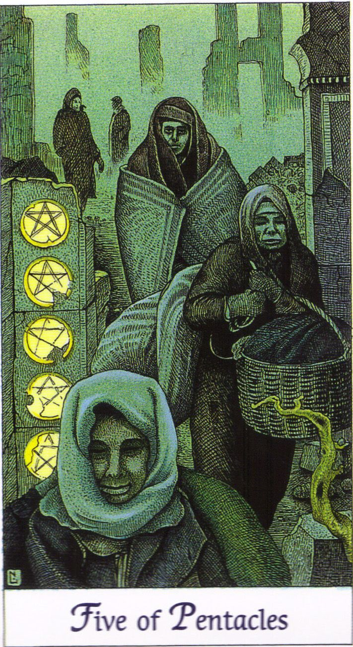 Five of Pentacles | Cosmic Tarot by Norbert Lösche | Five people walk through a gloomy landscape of ruins. Meaning: belief in the future, reconciliation. Reversed: worry, torture, chaos, poverty, effort, tension, need, idleness and immorality.