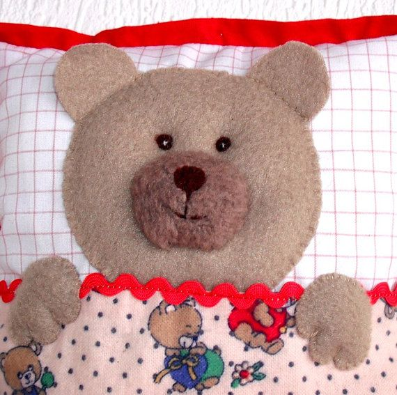 Bear cushion Teddy cushion Soft bear pillow  by WaldorfDollsByIren