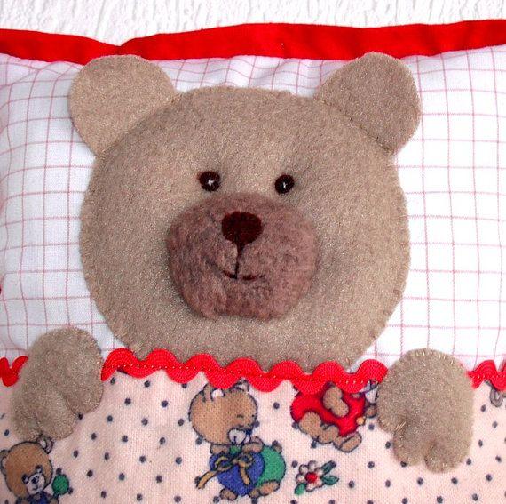 Bear cushion Teddy cushion Soft bear pillow  by WaldorfDollsByIren