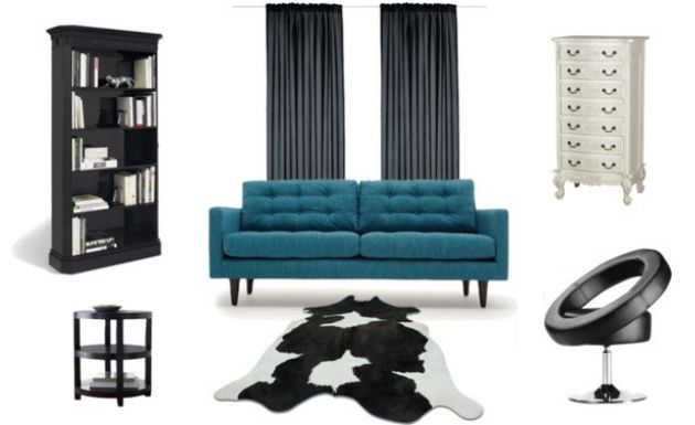Ideas para decorar: living blue leather