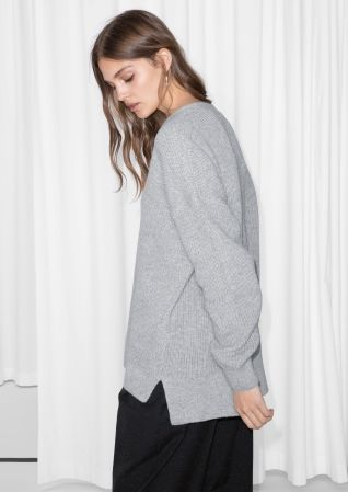 & Other Stories image 3 of Boxy V-Neck Jumper in Grey