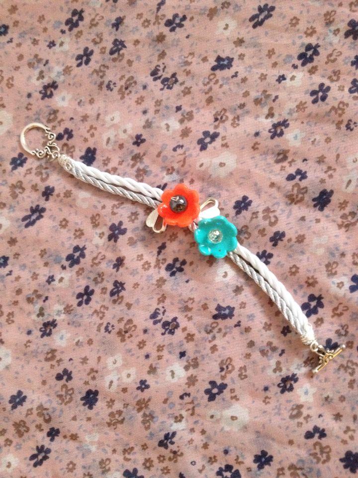 Handmade bracelet, polymer clay handmade flowers