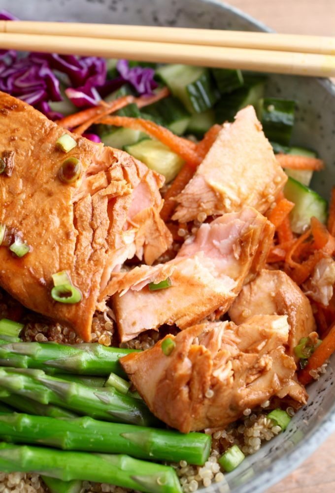 Ginger Soy Salmon Bowl (Gluten Free) via Nutrition in the Kitch