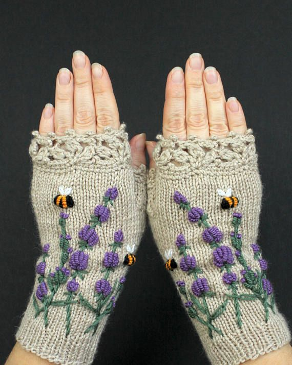 Knitted Fingerless Gloves Lavender Bees Beige Mittens