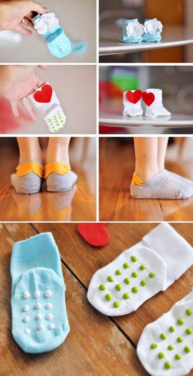 Mamães em Rede: Fazendo meias antiderrapante em casa