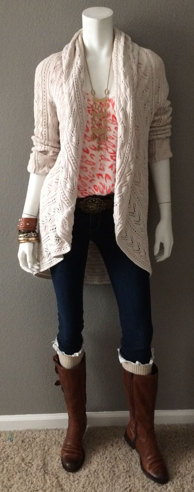 Daily Look: CAbi Spring '15 Flirt Cami with vintage Bree Jean, Circle Sweater and Rococco Belt with boot socks, riding boots, tons of bracelets, and my fave Stella & Dot necklace. Spring really can be layered up for winter and if you live in a colder climate, you can always add a cozy scarf and/or a long-sleeved layer underneath. #CAbiClothing