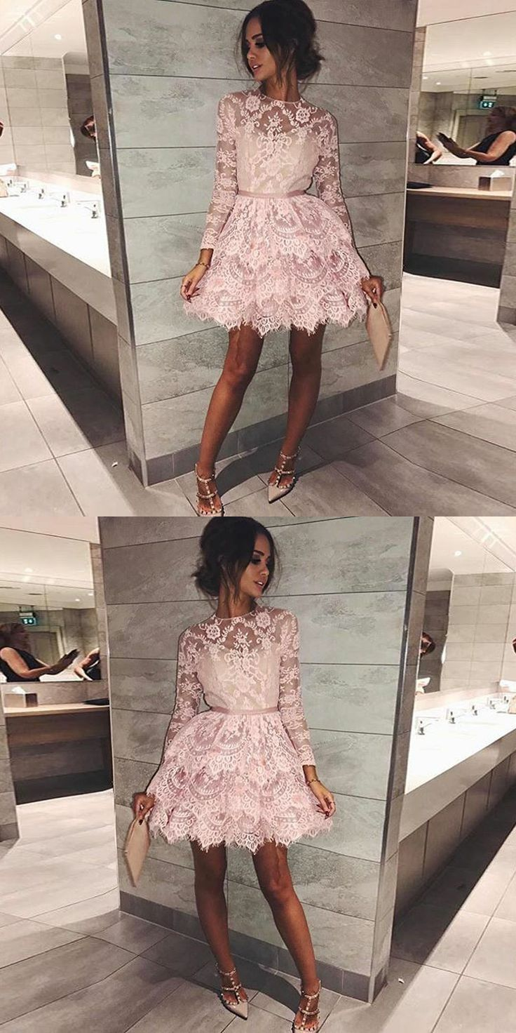 round neck pink short homecoming dresses, long sleeves lace short prom dresses, lace tiered short homecoming dress with sleeves