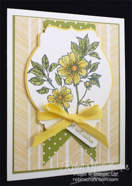 I love to use Stampin' Up! products to make cards, but especially Get Well cards. The new Stampin' Up! Blendabilities were perfect to use to color these flowers, even though the stamp already has some built-in shading.  Fun to use the Deco Label Framelit for the background!