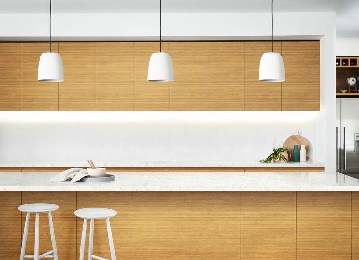 A modern kitchen featuring essastone