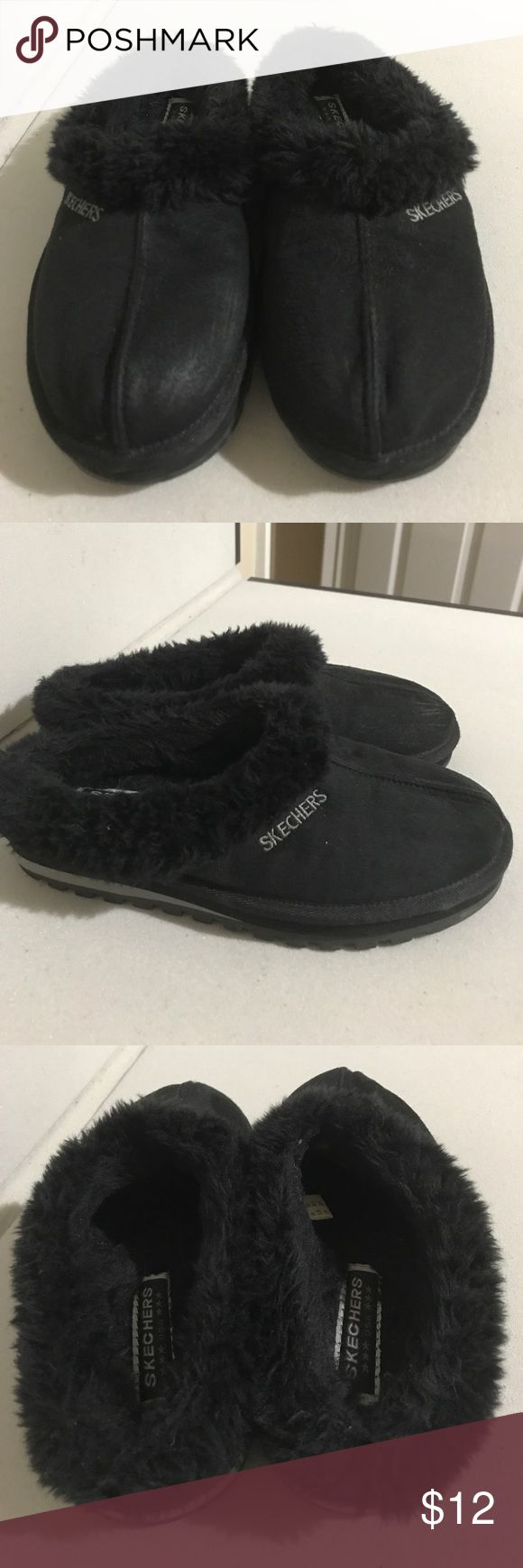 Skechers Black Suede Fuex Fur Mules Sz 6.5 Very good preowned condition. Skechers Shoes Mules & Clogs