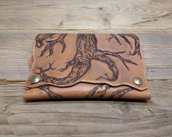 Tree engrave leather tobacco bag -    Edit Listing  - Etsy