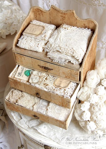 Antique french box and lace                                                                                                                                                      More