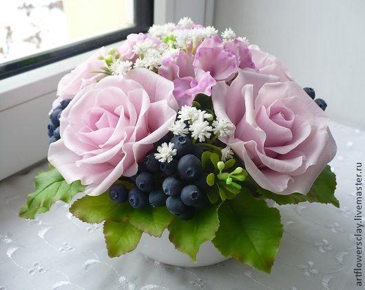 Купить Букет с черникой из полимерной глины - розовый, букет цветов, букет из полимерной глины, черника