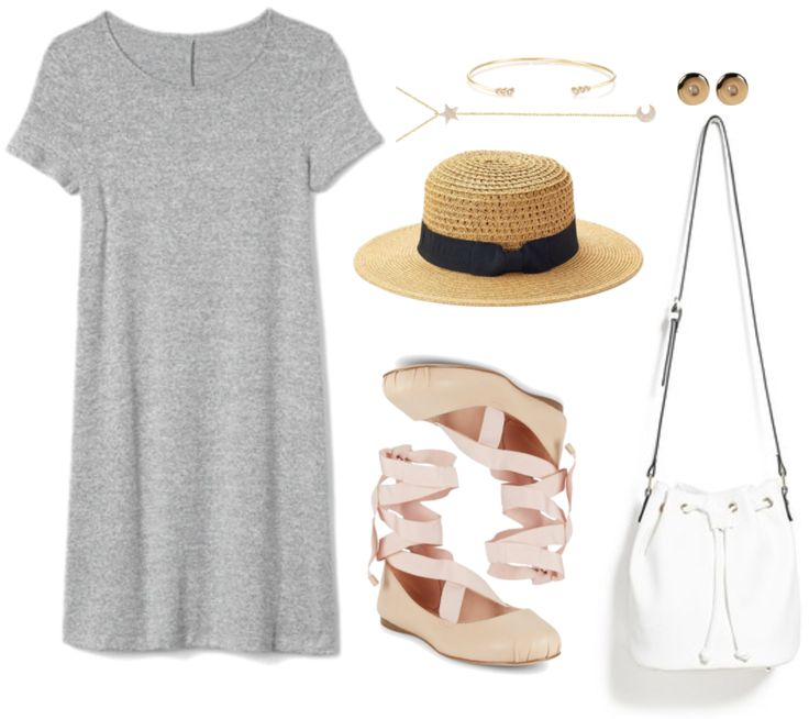 """""""How to Wear Tie-Up Ballet Flats"""" Outfit #1 featuring gray marled short-sleeved t-shirt dress, thin gold cuff bracelet with three clear stones on either side, gold star and moon lariat necklace with clear stones, straw panama hat with black bow, pale-pink ballet flats with pale pink ribbon tie, gold circular stud earrings with tiny clear stone in the center, white bucket bag with drawstring, gold hardware, and black edges"""