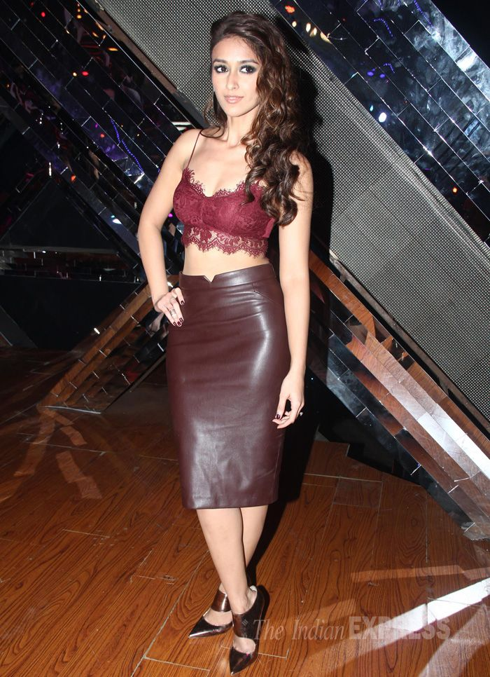 Ileana D'Cruz in a maroon Topshop lace bralet and Zara leather skirt while promoting 'Happy Ending' on the sets of 'India's Raw Stars'.
