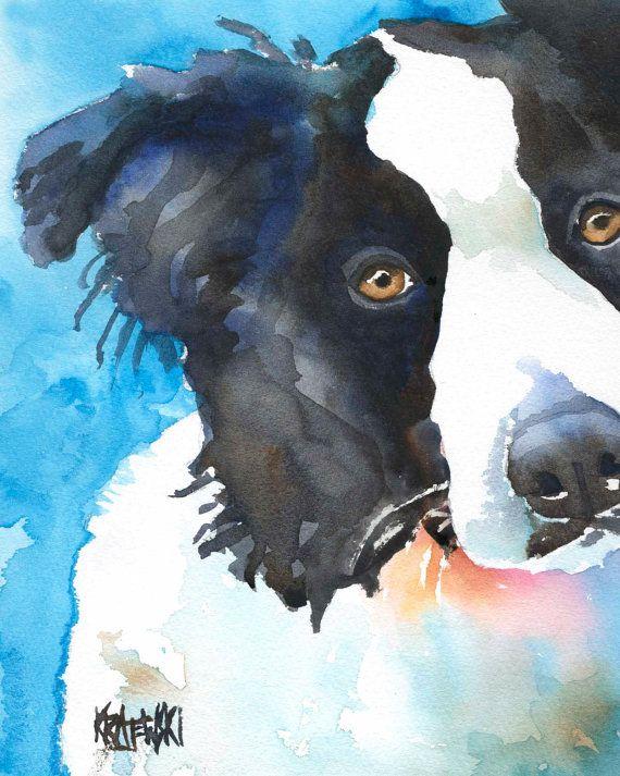 Border Collie Art Print of Original Watercolor by dogartstudio