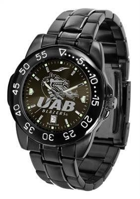 UAB Blazers Men's Logo Watch by SunTime. $70.95. Men. Linked Steel Band. 3 Year Limited Warranty. Officially Licensed Alabama Birmingham Blazers Men's Stainless Steel Watch. Adjustable Band. UAB Blazers Men's Logo Watch. The FantomT boasts a bold but not in-your-face image of Blazers logo in metallic silver on a black Ano-Chrome dial. The watch features a dark gunmetal finish, a date calendar display and a rotating bezel/timer that circles the scratch-resistant glass cryst...