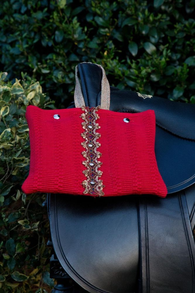 Designer Handcrafted  Woven Red Dual Sided Saddle Bag with Double Snap Closure #UniquelyHandCrafted