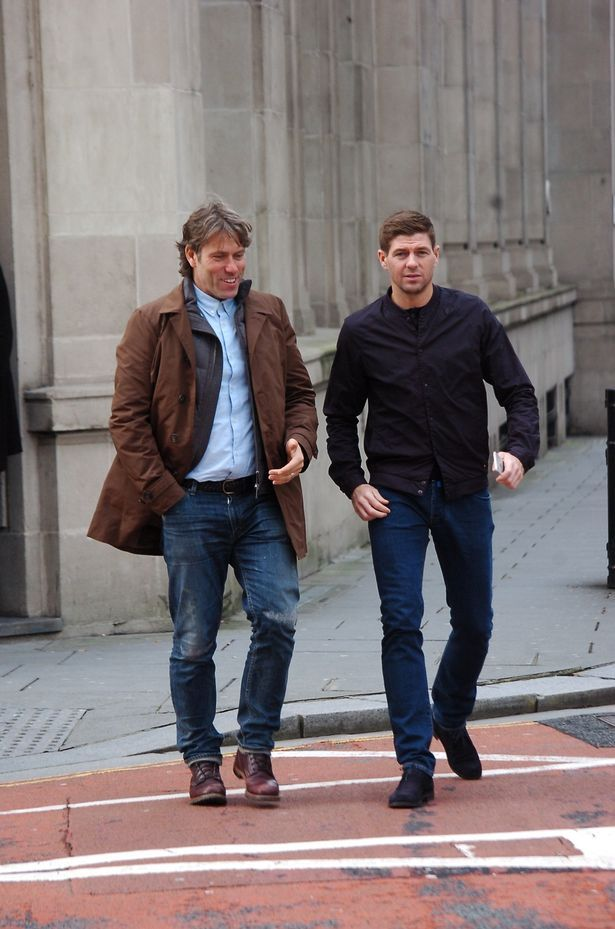 John Bishop and Steven Gerrard coming out of the Vincent Cafe Bar in Exchange Flags - Stevie is part owner