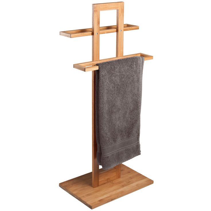 Towel Rail Stand Base Bamboo Wooden Bathroom Storage Rack Holder Free Standing