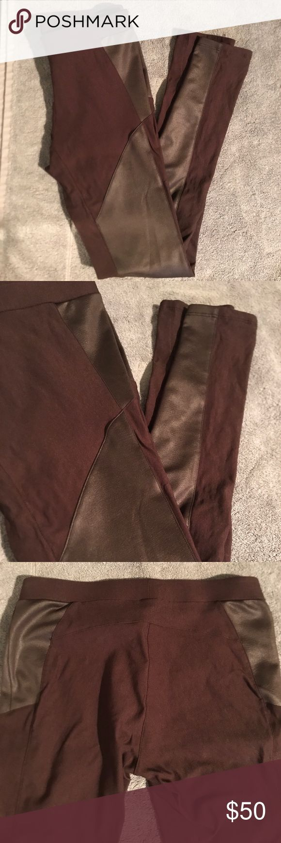 """Leather Panel Leggings Like new condition. Very sturdy leggings with great shape.   Very subtle embossed faux leather paneling down the hip and the front of each leg. Pretty stitching along the butt and a faux zipper cover in front. Stitching down back of legs closer to the outside in the leg. Good amount of stretch!  7.5"""" rise 14"""" across waist 7.5"""" across upper thigh 30"""" inseam  76% rayon 20% nylon 4% spandex Evleo Pants Leggings"""