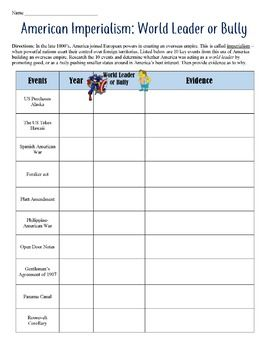 American Imperialism: World Leader or Bully Worksheet & Lesson This higher-level activity has students thinking critically about 10 American actions during the Age of Imperialism. It includes both a worksheet and editable Google Docs version!