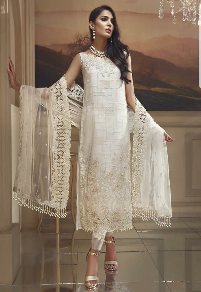 56f9cabbad Pakistani Fashion Party Dress by Anaya In Beutiful White Color.Work  Embellished With Tilla Threads Embroidery,Sequance And Patches Work.