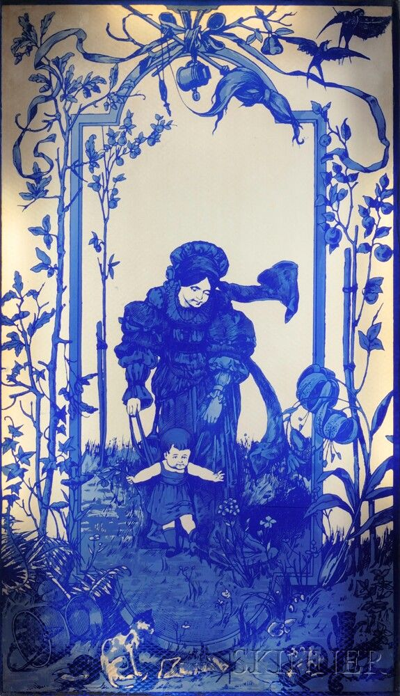 A Blue Acid-etched Glass Panel.