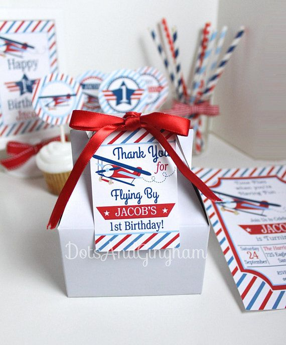 Airplane Birthday Party Favor Tags: Printable Airplane Favor Tag-Time Flies Party Favor