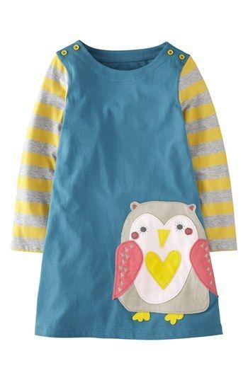 Mini Boden 'Fun' Appliqué Dress (Toddler Girls, Little Girls