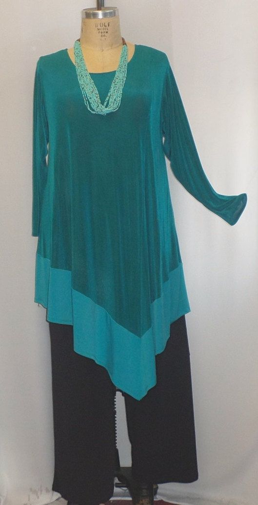 Coco and Juan Plus Size Lagenlook Turquoise Slinky by COCOandJUAN