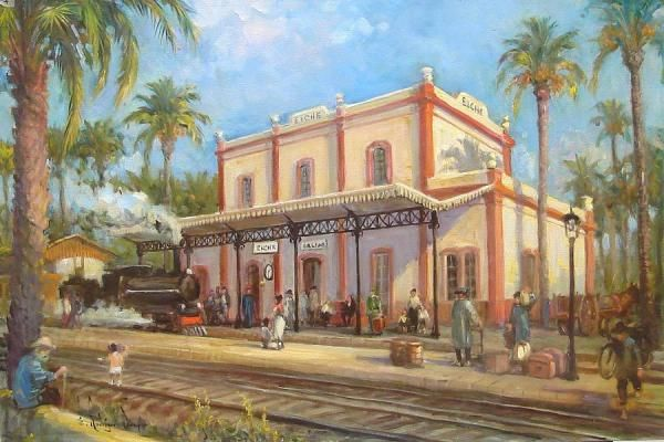 Imagen de la obra Antigua estación del ferrocarril Murcia-Alicante en Elche, de Eduardo Samper, pintor español nacido en Elche.