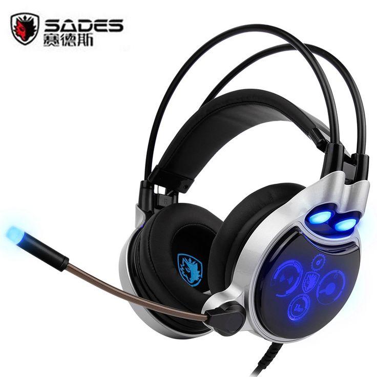SADES SA-908 Gaming Headset USB LED Digital 7.1 Channel Headphones Surround fone de ouvido + Mic Volume Control for PC Mac YX03